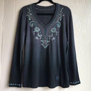 Double D Ranch Embroidered Gray Ombré Top